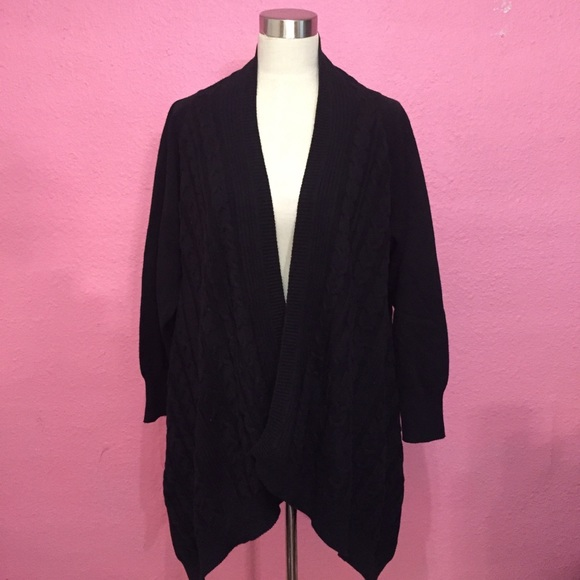 Avenue Sweaters - Black waterfall cardigan sweater